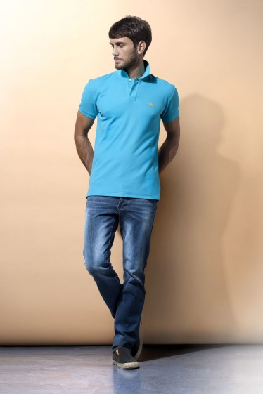 Men's Slim Fit Pique Polo Shirt - Aqua