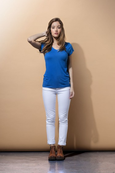 Women's V Neck Tee Shirt - Royal Blue